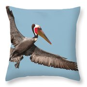 California Brown Pelican With Stretched Wings Throw Pillow