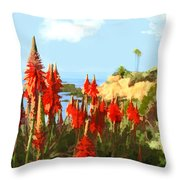 California Coastline With Red Hot Poker Plants Throw Pillow