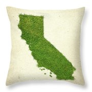 California Grass Map Throw Pillow by Aged Pixel