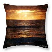 California Grunge Sunset Throw Pillow