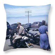 California Highway Patrol Harley Davidson Circa 1948 Throw Pillow