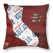 California License Plate Map Throw Pillow