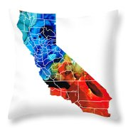 California - Map Counties By Sharon Cummings Throw Pillow