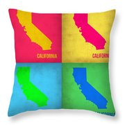 California Pop Art Map 1 Throw Pillow by Naxart Studio