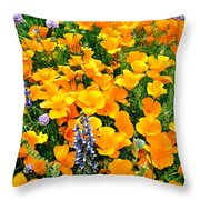 California Poppies And Betham Lupines Southern California Throw Pillow