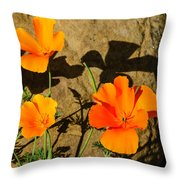 California Poppies - Crisp Shadows From The Desert Sun  Throw Pillow