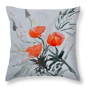 California Poppies Sumi-e Throw Pillow by Beverley Harper Tinsley