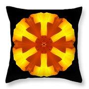 California Poppy Flower Mandala Throw Pillow by David J Bookbinder