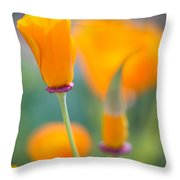California Poppy Tres Throw Pillow