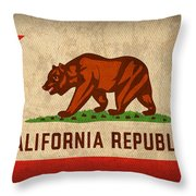 California State Flag Art On Worn Canvas Throw Pillow by Design Turnpike