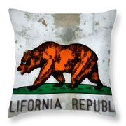 California State Flag Weathered And Worn Throw Pillow