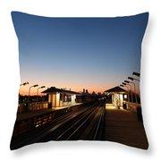 California Train Station Landscape Throw Pillow