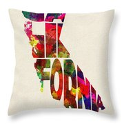 California Typographic Watercolor Map Throw Pillow