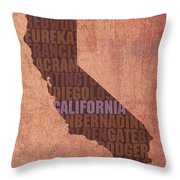 California Word Art State Map On Canvas Throw Pillow