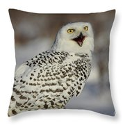 Call Of The North - Snowy Owl Throw Pillow by Inspired Nature Photography Fine Art Photography