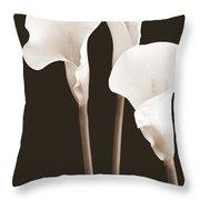 Calla Lilies In Triplicate In Sepia Throw Pillow