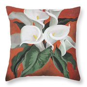 Calla Lilies On A Red Background Throw Pillow