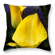 Calla Lily Portrait In Yellow And Green Throw Pillow
