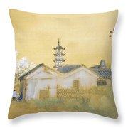 Calm Spring In Jiangnan Throw Pillow