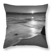 Calm Winter Waves Bw Throw Pillow