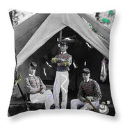 Calvary Troopers On Bivouac Tent Date Unknown Image Restored Color Added 2008  Throw Pillow