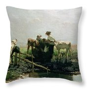 Calves At A Pond, 1863 Throw Pillow