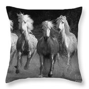 Camargue Horses Running Throw Pillow