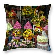 Cambodia Flower Seller Throw Pillow by Mark Llewellyn