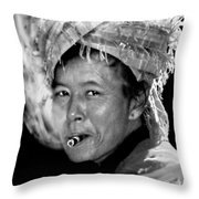 Cambodian Lady Smoker Throw Pillow