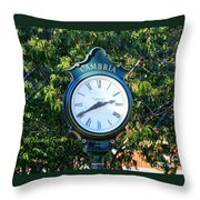 Cambria Square Time Clock Throw Pillow