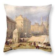 Cambridge Market Place, 1841 Throw Pillow