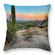 Camel Back Mountain Cactus View Throw Pillow by Jenny Ellen Photography