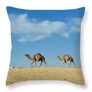 Camel Train Throw Pillow