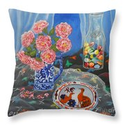 Camellias With Glass Beads Throw Pillow