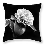 Camellia Flower In Black And White Throw Pillow by Jennie Marie Schell