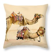 Camels From Petra Throw Pillow