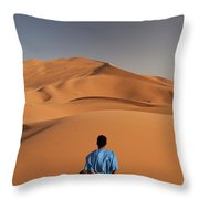Camels In Sahara Desert. Erg Chebbi Throw Pillow