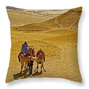 Camels Nuzzling On The Giza Plateau-egypt  Throw Pillow