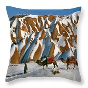 Camels On The Snow Throw Pillow