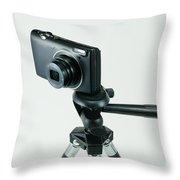 Camera On Tripod Throw Pillow