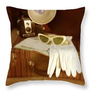 Camera Sunglasses On Luggage Throw Pillow