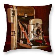 Camera - Vintage Polaroid Land Camera 80 Throw Pillow