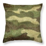 Camo Distressed Hard Version Throw Pillow