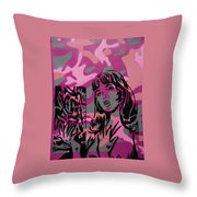 Camo Girl Series Warhol V Lichtenstien Throw Pillow