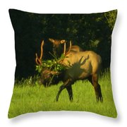 Camoflaged Elk With Shadows Throw Pillow