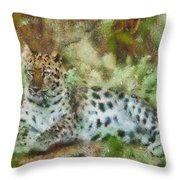 Camouflage Cat Throw Pillow