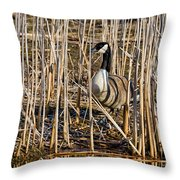 Camouflaged Canada Goose Throw Pillow