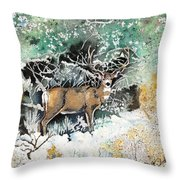 Camouflaged Mule Deer Buck In Winter Throw Pillow