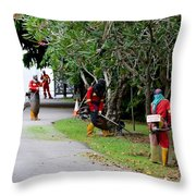 Camouflaged Leaf Blowers Working In Singapore Park Throw Pillow