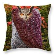 Camouflaged Owl Throw Pillow